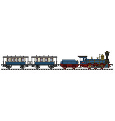 historical blue steam train vector image vector image
