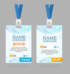 id card template plastic badge vector image vector image