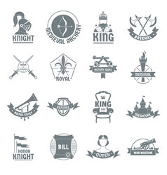 knight medieval logo icons set simple style vector image vector image