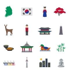 Korean Culture Symbols Flat Icons Set vector image vector image