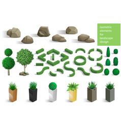 set of landscape elements vector image