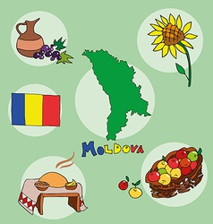 set of national profile of the moldova vector image vector image