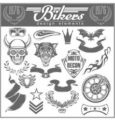 Set of vintage motorcycle design elements for vector image