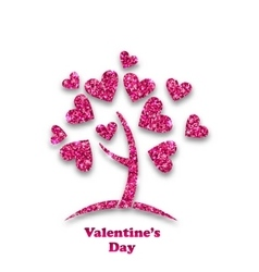 Concept of Tree with Shimmering Heart Leaves for vector image vector image