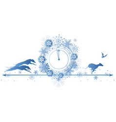 new year border with dogs raven and clock vector image
