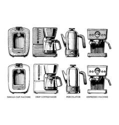 set of coffee machines vector image vector image