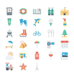 Summer and holidays colored icons 3 vector