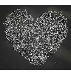 Chalk hand-drawn doodles heart on blackboard vector image