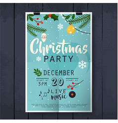 christmas party poster lettering on wood texture vector image vector image