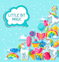 Little bit magic card with unicorn and fantasy vector