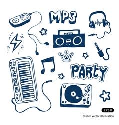 Music elements set vector image