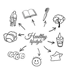 outline set of a healthy lifestyle vector image vector image