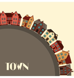Town background design with cottages and houses vector image vector image