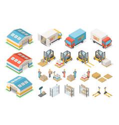 Isometric warehouse icon set scheme logistic vector