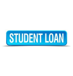 Student loan blue 3d realistic square isolated vector image