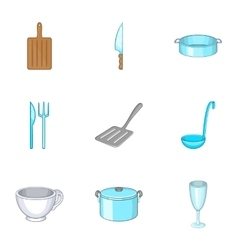 Tableware icons set cartoon style vector image vector image