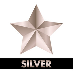 3d silver star on white vector