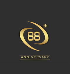 88 years anniversary logo style with swoosh ring vector