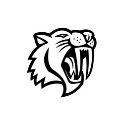 Angry saber toothed cat head mascot black and vector