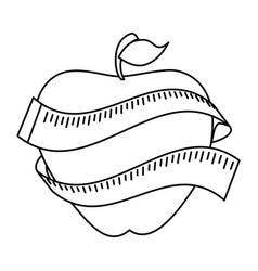 Apple with tape measure icon vector