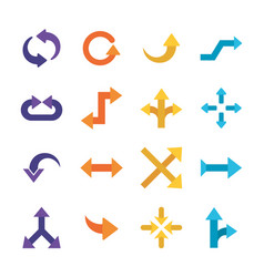 Arrows flat style collection icons vector