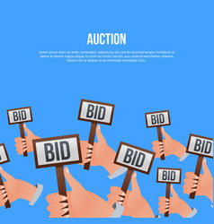 auction poster with hands holding bid signs vector image