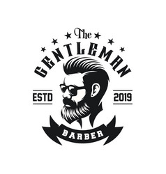 awesome bearded man logo design vector image