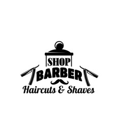 barbershop mustache and razor icon vector image