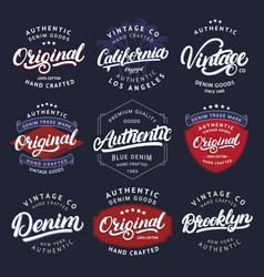 big set california vintage brooklyn denim vector image