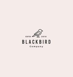 bird logo hipster vintage retro line outline vector image