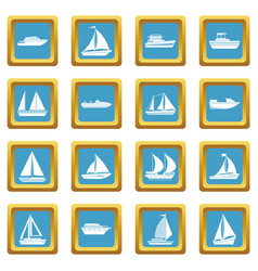 Boat and ship icons azure vector
