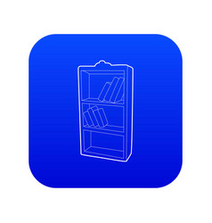 Bookcase icon blue vector