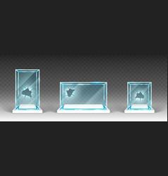 Broken glass showcases displays exhibit stands vector