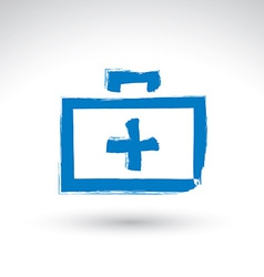 Brush drawing simple blue first aid kit medicine vector image