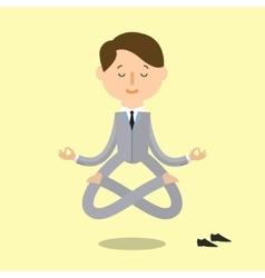 Cartoon business man is doing yoga vector image