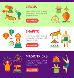 cartoon circus banner horizontal set vector image