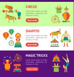 Cartoon circus banner horizontal set vector