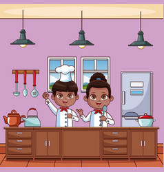 chef kids at kitchen vector image