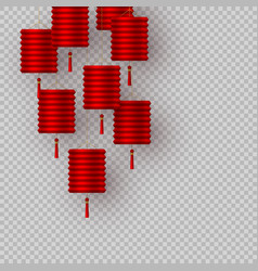 chinese lanterns in red on transparent background vector image