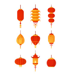 chinese lanterns set on vector image
