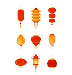 chinese lanterns set on vector image