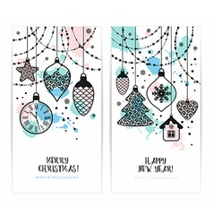 Christmas toys on white background Holiday banners vector image