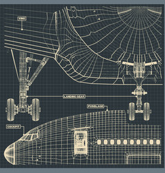 civil jet drawing fragment vector image