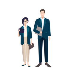 Couple of people dressed in business clothes or vector