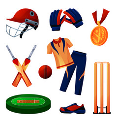 Cricket equipment and sportswear set players tool vector