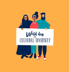 Cultural diversity day card diverse friends vector