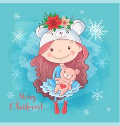 cute christmas card with cartoon girl with teddy vector image