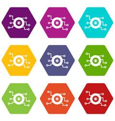 cyber eye symbol icon set color hexahedron vector image
