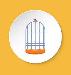 Cylindrical bird cage icon in flat style vector