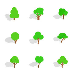 Different trees icons isometric 3d style vector